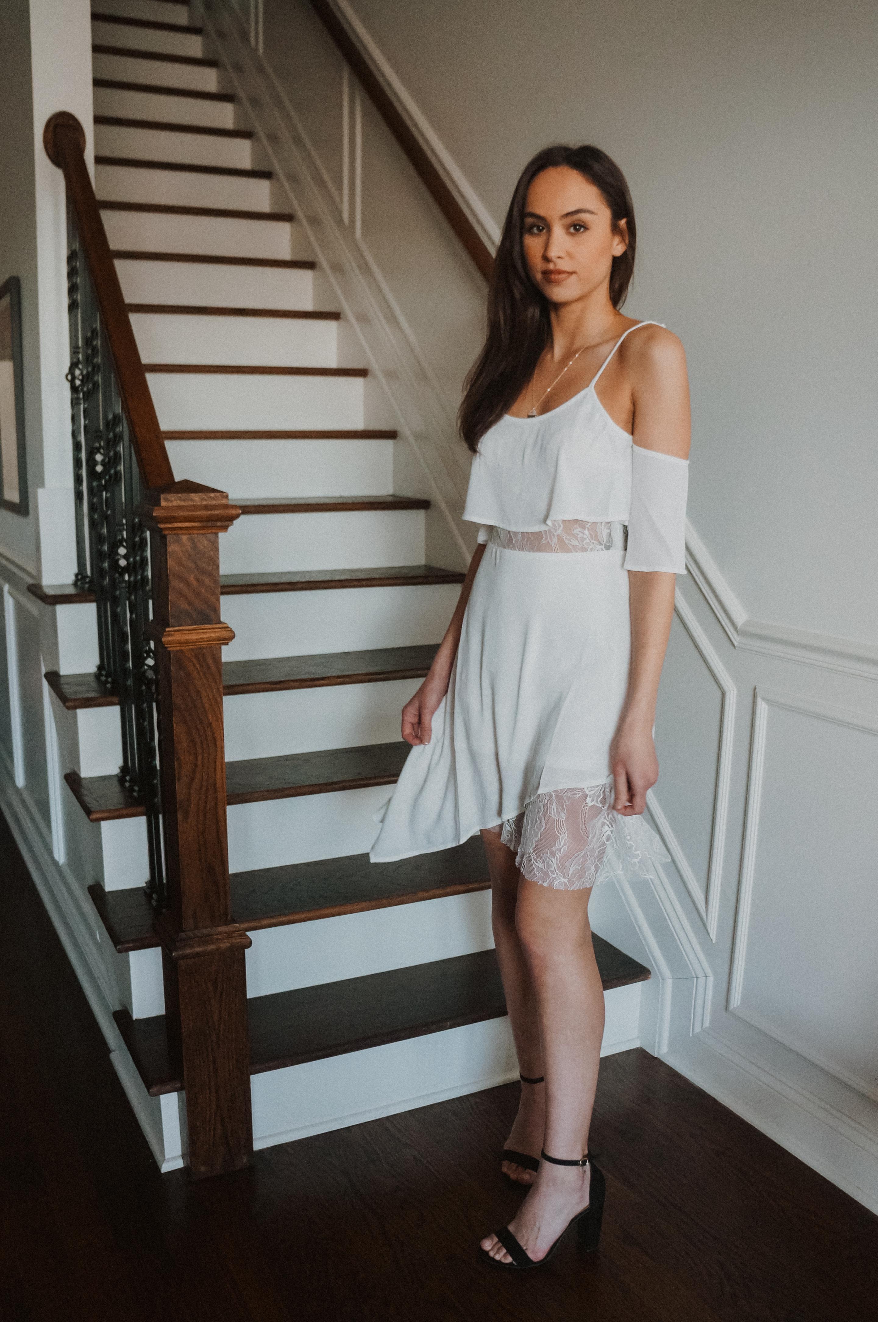 Cold Shoulder Asymmetrical Hem Dress